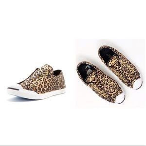 JACK PURCELL CONVERSE leopard laceless satin shoes